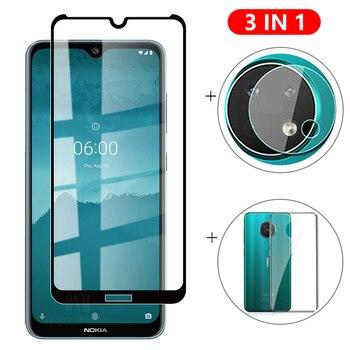 Перейти на Алиэкспресс и купить 3-в-1 стекло + чехол для Nokia 7,2 6,2, защита экрана из закаленного стекла для Nokia 7,2 6,2, Защитное стекло для камеры