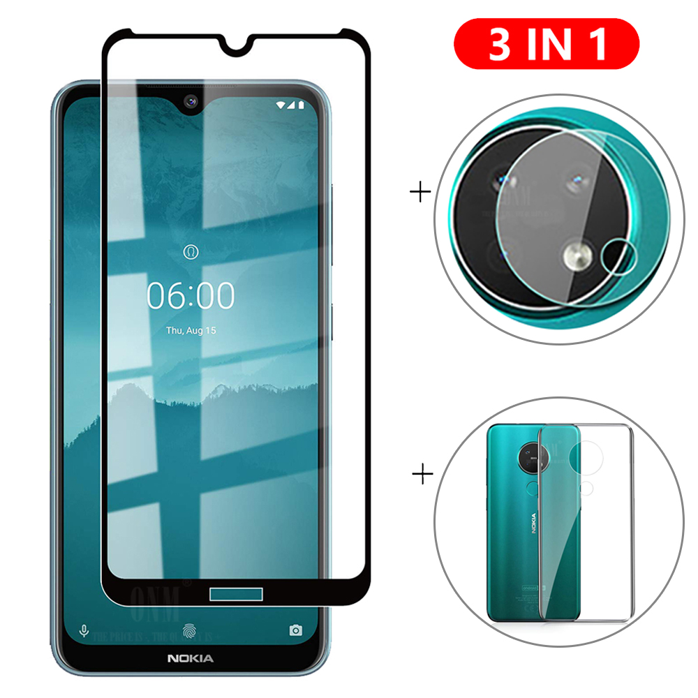 3-in-1 Glass + Case For Nokia 7.2 6.2 Screen Protector Tempered Glass for Nokia 7.2 6.2 Camera Protector Glass(China)