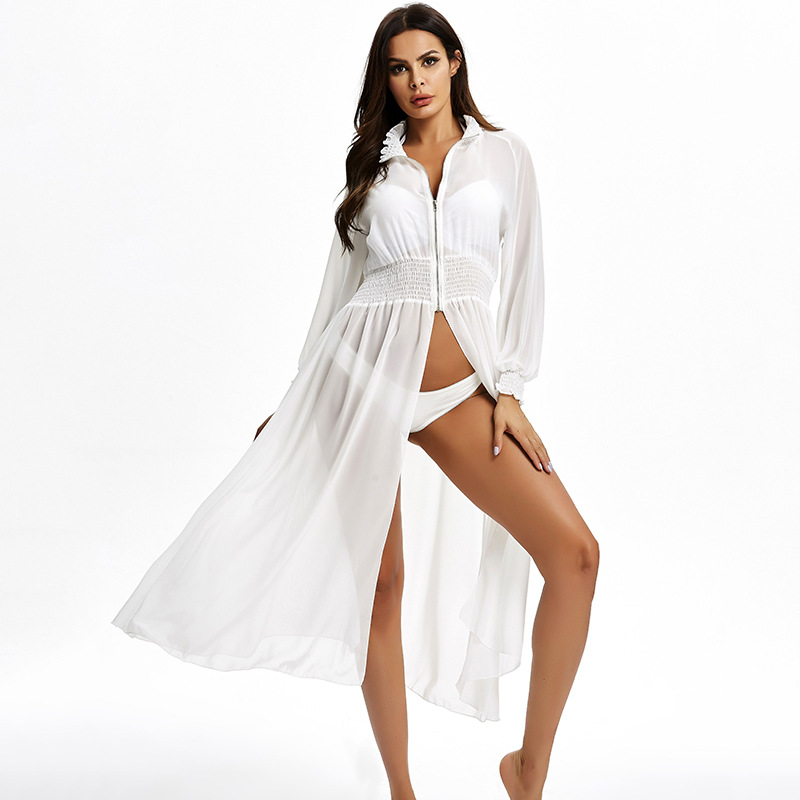 Women Swimsuit Cover Up Sleeve Kaftan Beach Tunic Dress Robe De Plage Solid White Pareo Beach High Collar Cover Up