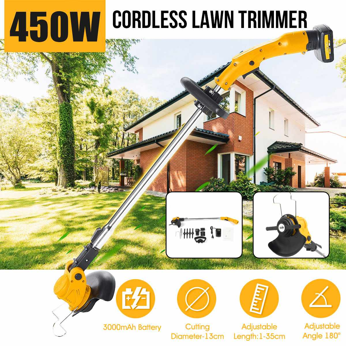 Ion Cordless With Lawn Mower Lawn 450W Lithium Cutter Brush 2000mAh String 26V Electric Tools Battery Grass Garden Trimmer