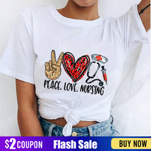 Peace Love Nursing T-shirt Harajuku Kawaii Funny Tshirt Women Ullzang Graphic Fashion Tshirt Korean