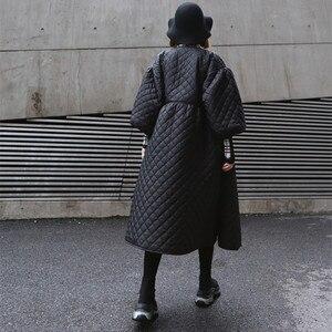 Image 3 - Новинка 2020, Женское зимнее пальто большого размера, винтажный буф с рукавом, клетчатая парка, Корейская черная хлопковая куртка, осеннее пальто, уличная одежда