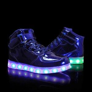 Image 5 - Boyutu 35 44 Led ayakkabı aydınlık taban ışık erkek ve kadın Sneakers aydınlık parlayan spor ayakkabı ışık ayakkabı Led terlik