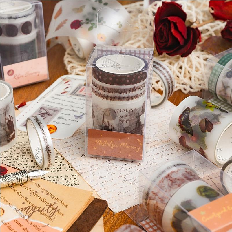 3pcs Retro Journey Memories Washi Tape Set PET Matte Baroque Flower Autumn Courtyard Adhesive Masking Tapes Stickers Deco A6185