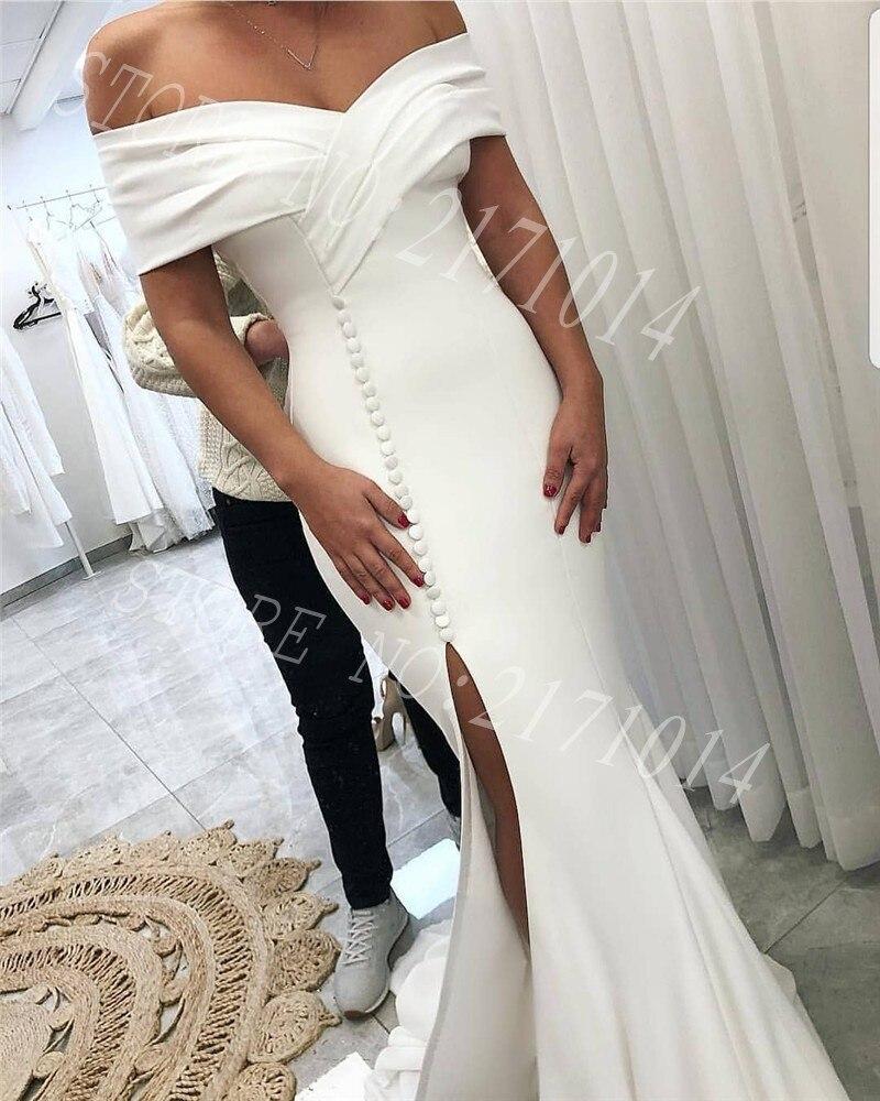 2020 New Hot Custom Made Elegant Sexy Front Split Off Shoulder Backless Satin White Mermaid   Prom     Dress