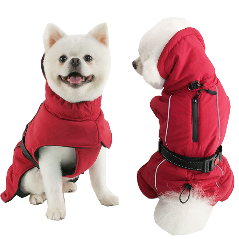 Зимние комбинезоны для собак, теплые Светоотражающие пальто для собак, лыжная куртка, водонепроницаемая одежда для собак, функциональный дизайн для S средних и больших собак-0