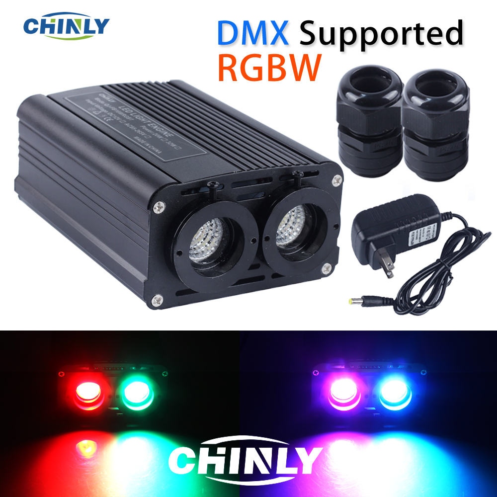 DMX512 Fiber Optic Engine 32W RGBW LED Double Source Lights Heads With RF Controller For Decorative Lightings
