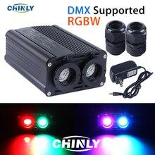 DMX512 Fiber optik motor 32W RGBW LED çift kaynak ışıkları kafaları RF kontrolörü dekoratif aydınlatmaları