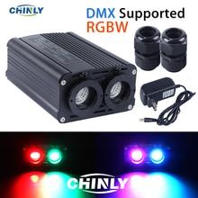 DMX512 silnik światłowodowy 32W RGBW LED podwójne źródło światła głowice z kontrolerem RF do oświetlenia dekoracyjnego