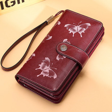 Brand Butterfly Real Leather Women Wallet Large Compartment Long Leather Female Clutch Purse Cellphone Bag Coin Wallet Lady Gift