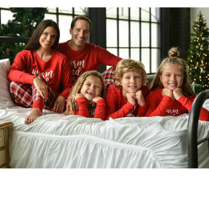 2019 Christmas Letter Printed Long Sleeve Tops Plaid Pants Two Pieces Christmas Family   Pajama     Sets     Pajama   Winter   Pajamas