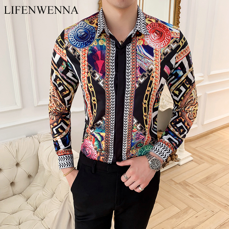 LIFENWENNA Autumn Men's Printed Long Sleeve Shirt New Fashion Hawaii Slim Fit Shirts Casual Party Night Club Shirts Men M-4XL