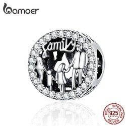 BAMOER семья из четырех круглых металлических бусин 925 стерлингового серебра шармы подходящие браслеты и браслеты женские модные ювелирные из...