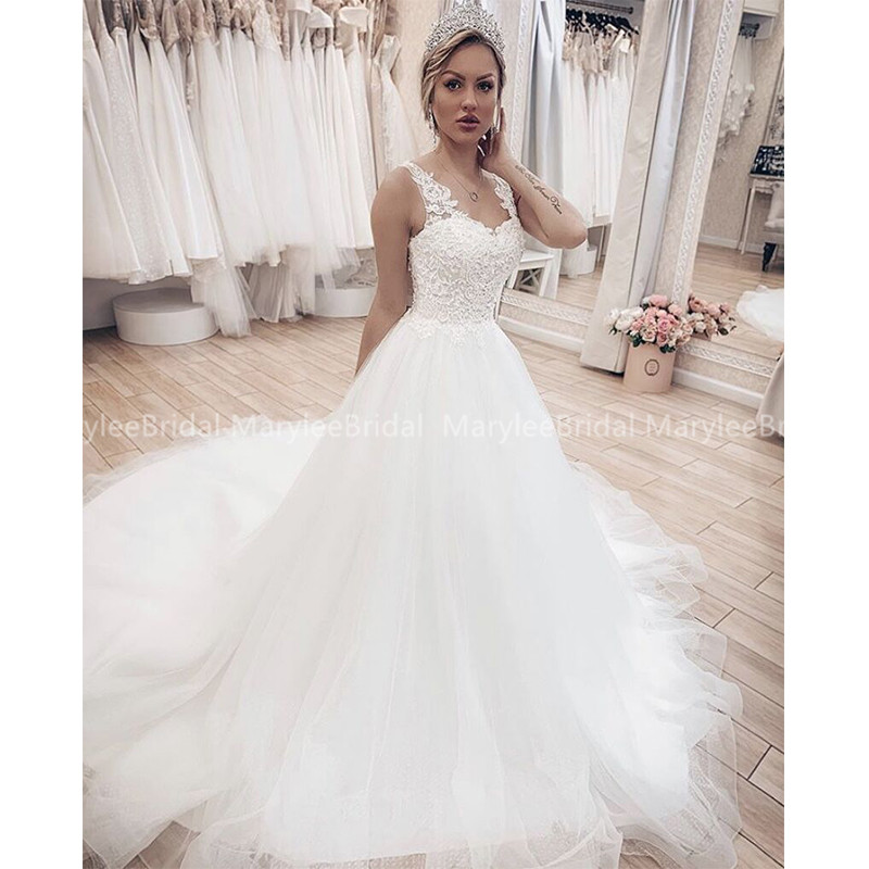 Elegant A-line Wedding Dress With Sheer Straps 2020 New Russia Bridal Gowns Lace Up Back Cathedral Train Vestido De Casamento