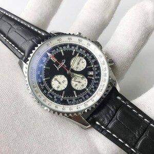 Модные часы мужские 1884 46 мм кварцевые сапфировое стекло все суб циферблаты рабочий кожаный ремешок AAA наручные часы