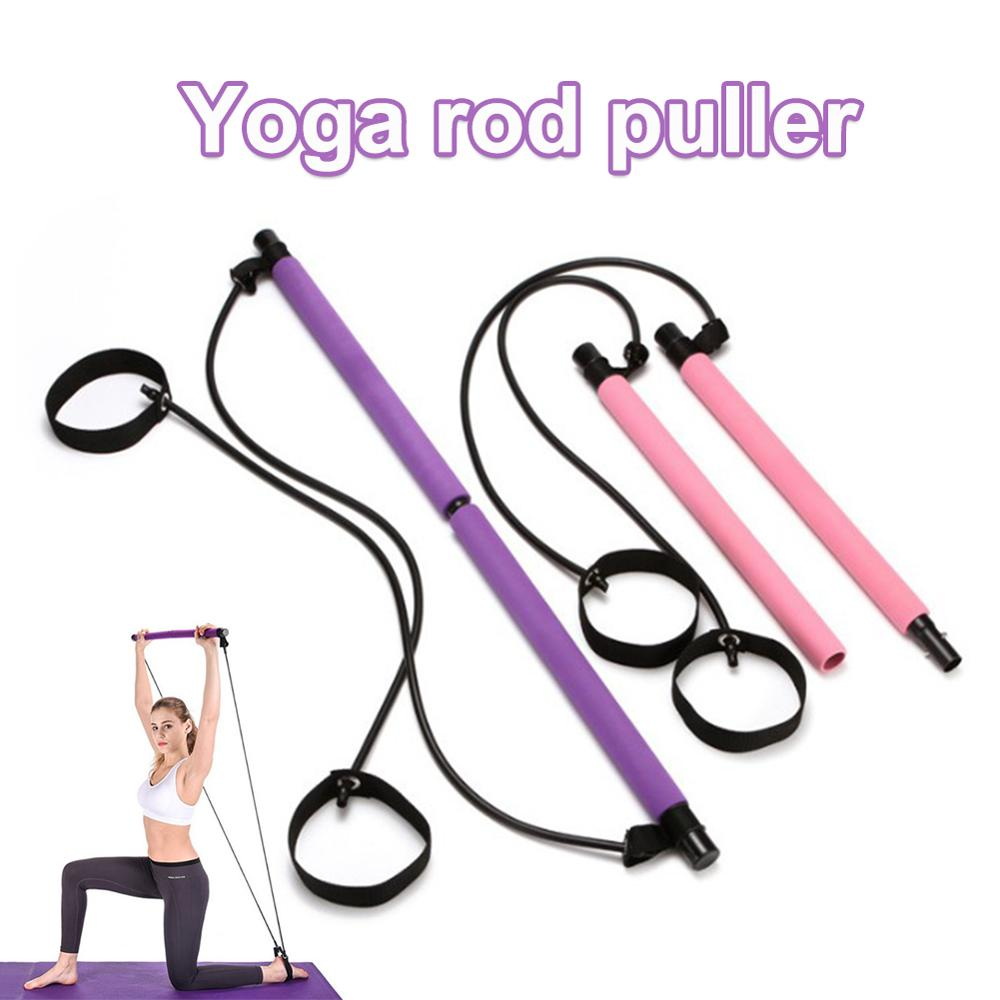 Gym Portable Pilates Bar Stick With Resistance Band For Home Fitness Sports Body Workout Exercise