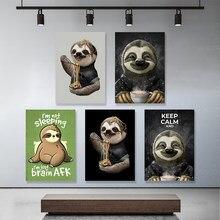 Casa decoração da preguiça quadros em tela adorável animais fotos minimalista arte da parede hd impresso nórdico modular cartazes para sala de estar