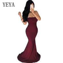 YEYA Strapless Off Shoulder Sexy Long Maxi Dress Elegant Hollow Out Prom Gowns Formal Party Vestido Luxury Longue
