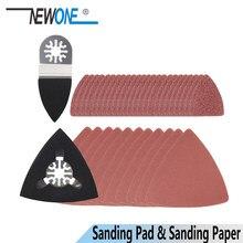 Newone ferramenta de oscilação areia papel + dedo/triângulo lixar almofada para fein dremel ferramenta elétrica abrasiva lixa gancho & loop