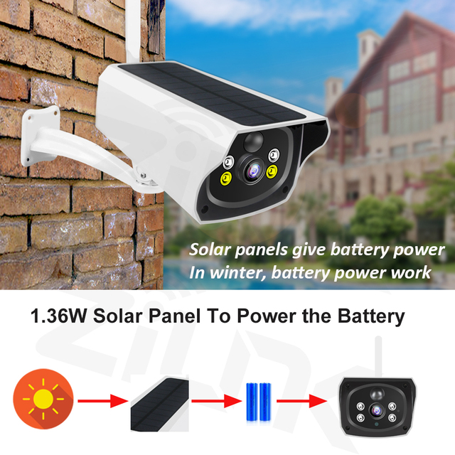 Solar Panel WIFI Camera 1080P HD Wire-Free Battery IP Camera Outdoor IP66 WaterProof 2MP Security CCTV Video PIR Two Way Audio 4