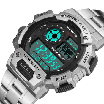 LED Digital Watch For Men PANARS Sports Watches Male Relogio Reloj Hombre Stainless Steel Military Waterproof Wristwatches panars sports watch men military waterproof g digital wrist watches s shock male watch for men led electronic wristwatch running