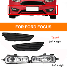 2 Style For Focus 2015-2018 1Set H8 Car Front Fog Light Lamp & Cover Kit DRL Driving Bumper Grille Frame Decoration