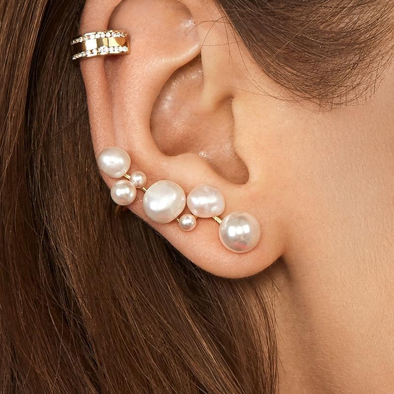 Trendy Classic Geometric Stud Earrings Bohemia Charm Multiple Pearl Earrings For Women Ear Jewelry Gift New 2019 Oorbellen