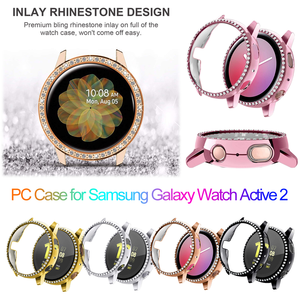 Hard PC Watch Case Bumper Cover Protector For Samsung Galaxy Watch Active 2 40mm 44mm Earthquake-Proof Coverage Diamond Case