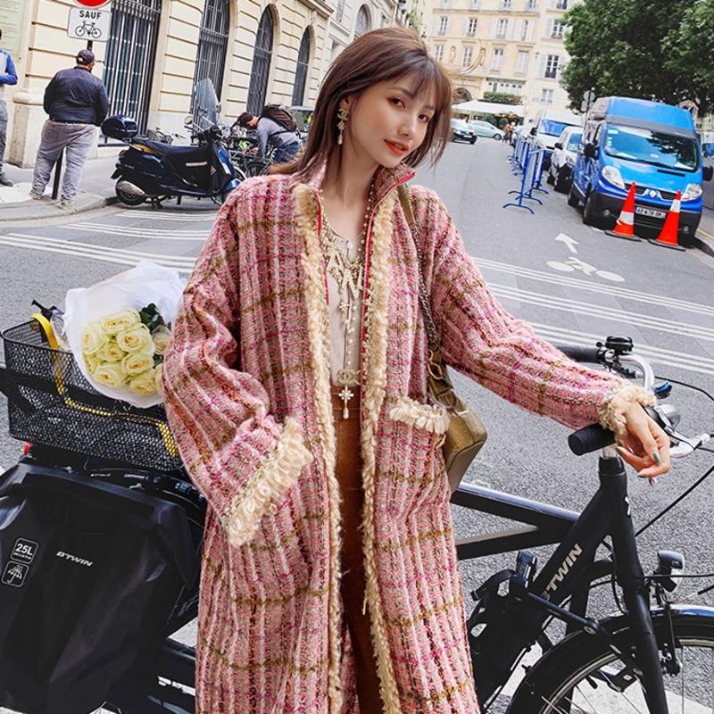 Korea 2019 Pink Long Coat Female Autumn And Winter New Popular High-end Cashmere Blend Warm Woolen Coat Jacket B593