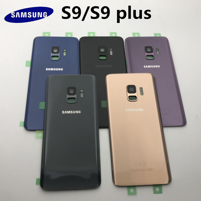 SAMSUNG S9 Back Glass Cover SAMSUNG Galaxy S9 G960 S9 Plus G965 G965F Back Glass Battery Cover Rear Door Housing Case Parts