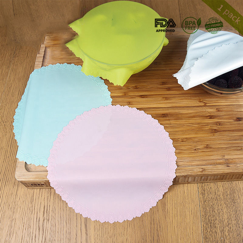 Food Grade Silicone Wrap Food Fresh Keeping Saran Lid High Stretch Container Cover Storage Lids Kitchen Tool  Silicone