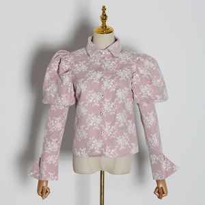 Image 5 - TWOTWINSTYLE Embroidery Hit Color Womens Blouses Lapel Collar Puff Long Sleeve Slim Shirts For Female 2020 Fashion Clothes Tide