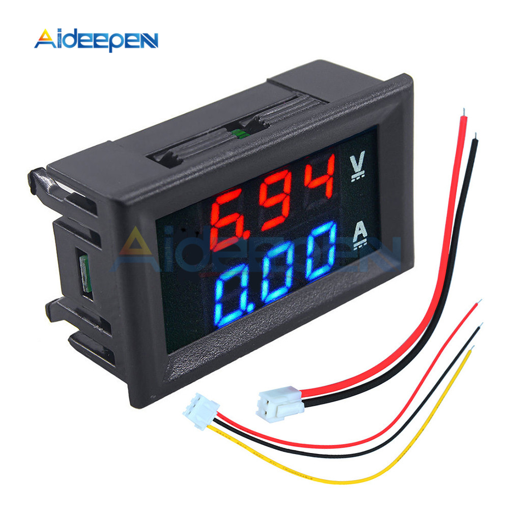 Voltímetro Digital electrónico de 0a 100V CC, 10A, 50A y 100A, amperímetro de 0,56 pulgadas con pantalla LED, regulador de voltaje, medidor de voltios y amperios para coche