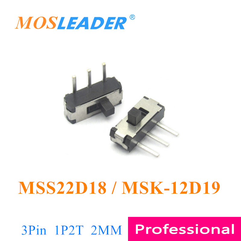Mosleader DIP MSS22D18 3P 3 Pin 1000PCS MSK-12D19 Side slide switch Toggle switch 1P2T 2 Travel 2MM Handle length DVD Switch