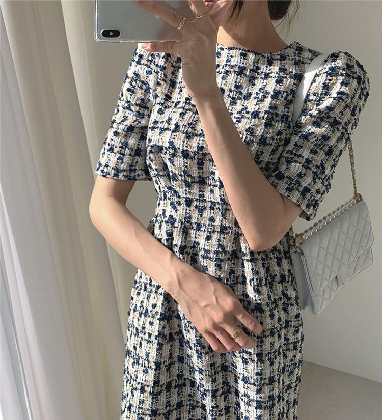 High Waist Casual Puff Sleeve Plaid Elegant Vintage Mini Dress 16