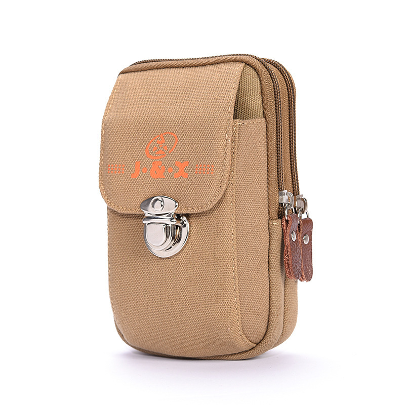 Men Verticle Wear Leather Belt Mobile Phone Waist Bag Canvas Mortise Lock Multi-functional Change Key Casual