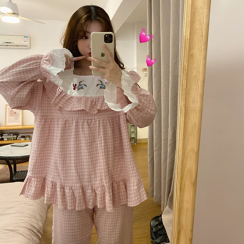 Girl's Home Service Plaid Embroidered Pajamas Cute Casual Cotton Lady Sleepwear Home Set Nightclothes Beautiful Nightgown