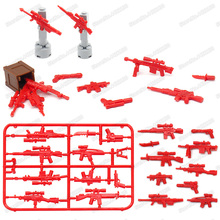 Military Weapons Set Building Blocks Accessories Army Figures Pubg Red Military Gun ww2 Moc childs Christmas birthday gifts toys oenux new 6pcs ww2 soviet army figures military building block set the battle of moscow army military scenes toy for kids gifts