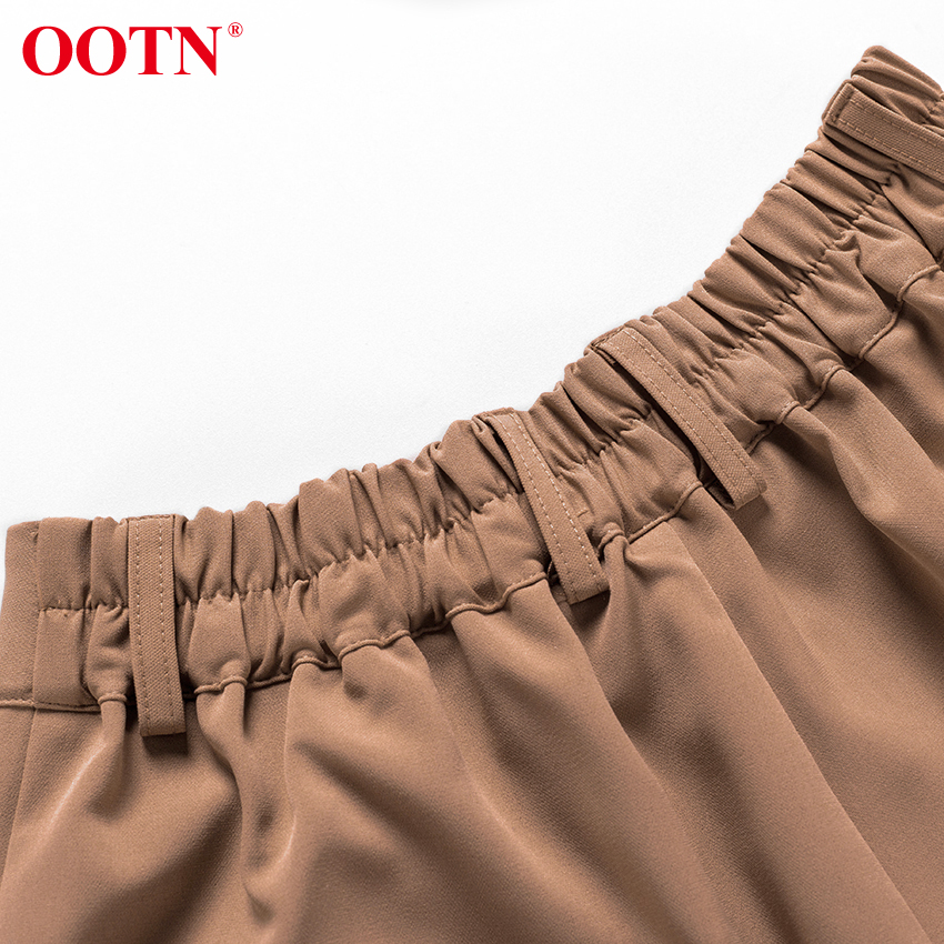 OOTN Casual High Waist Khaki Pants Women Autumn Winter Brown Ladies Office Trousers Zipper Pocket Solid Female Pencil Pants 44