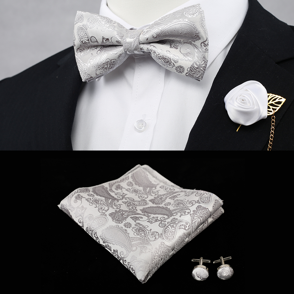 Wedding Party Classic Red Men's Adjustable Bowtie Sets With Handkerchief Neckwear Man Elegant Tuxedo Silk Bowties For Shirt