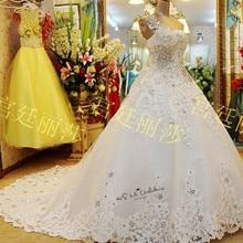 فساتين زفاف فاخرة مرصعة بأحجار الراين من الدانتيل فستان عروس بكتف واحد من الخرز Vestdio de Casamento 2020