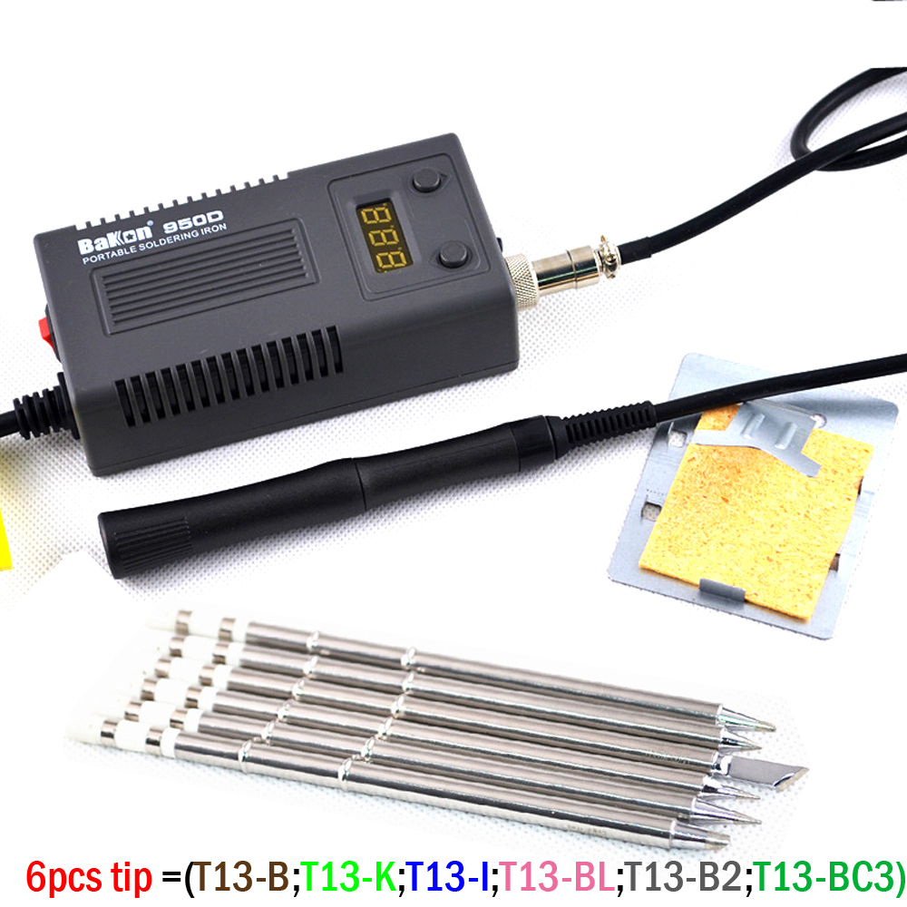 BAKON 950D 110V/220V 75W Mini Portable Soldering Iron Digital BGA Soldering Station With T13-I Tip FOR FX-951/936+Solder Wire