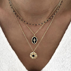Tocona Multi-layer Retro Cross Pendant Necklace for Women Black Beaded Gold Chain Choker Geometric Bohemian Jewelry B25105