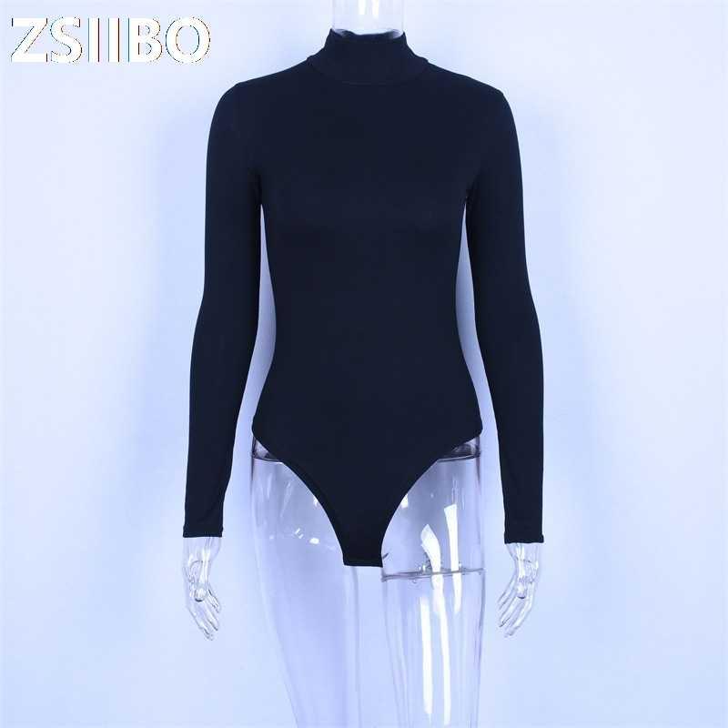 Seksi streetwear olabilir it uzun kollu kadınlar seksi bodysuit boyutu erotik kadın Mock boyun sıcak kumaş slim fit moda düz kostüm