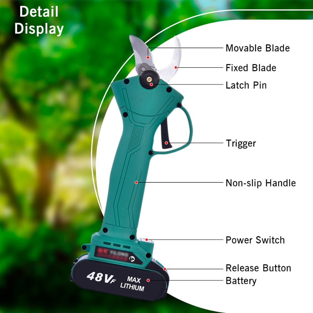Tools : Electric Pruning Scissors Rechargeable Professional Electric Pruner Pruning Shears 21V Lithium Battery 0-30mm Garden Pruner