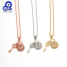 Lucky Eye Key Lock Pendant Necklace Rose Gold Silver Color Chain Micro Pave Zircon Necklace Jewelry Gift for Women Female EY6401 lucky eye key lock pendant necklace rose gold silver color chain micro pave zircon necklace jewelry gift for women female ey6401