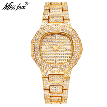 MISSFOX Gold Woman Watch Luxury Stylish Diamond Square Wristwatch Stainless Steel Bracelet Ice Out Clock Jewelry Gift For Women stylish square fake turquoise bead bracelet for women