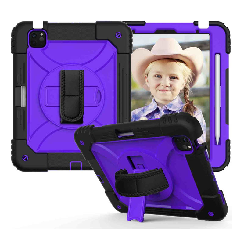 7 Purple For iPad Air 4 10 9 Case 2020 Hybird 3 Layers Armor Kids Shockproof Tablet Case