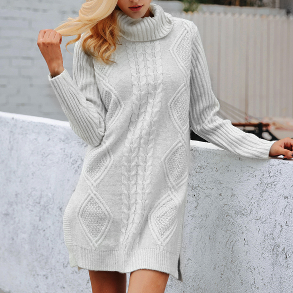 2020 Women Turtleneck Pullovers Sweater long Sexy Split Slim Fit Sweater Autumn Casual Pull Femme Warm Solid Knitted Jumpers