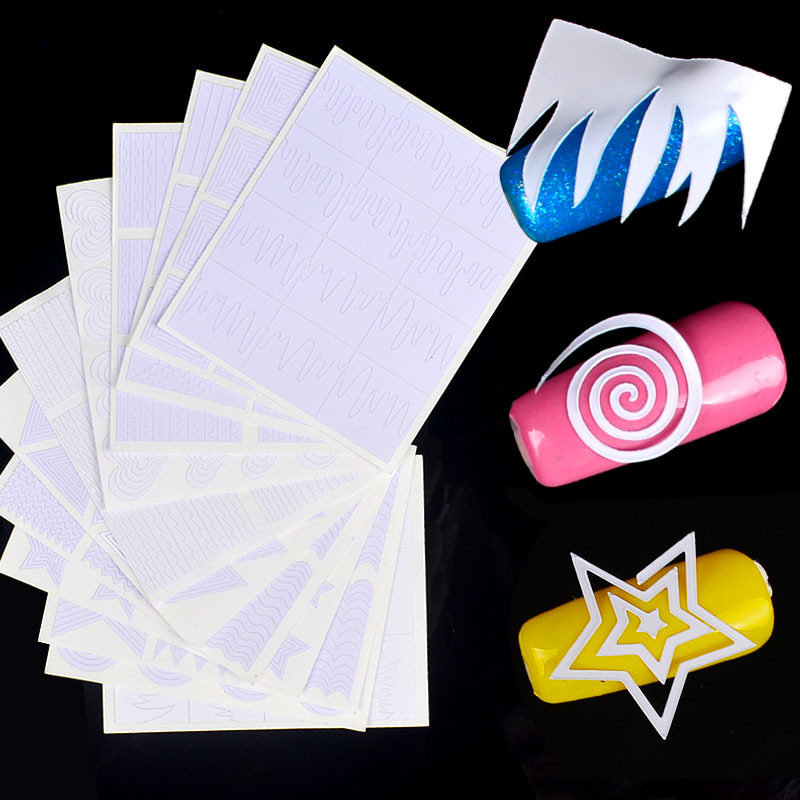 Foreign Trade Hot Selling New Style Smile Sticker French Nail Sticker Hollow Out Nail Sticker 12-Set Combination
